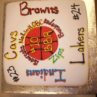 "Sports Theme Fondant Grooms Cake random assortment of the grooms favorite teams, 8"" square covered in fondant"
