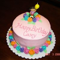 Dora Birthday Dora birthday cake iced in BC and accented with gumpaste. Dora top is a candle.