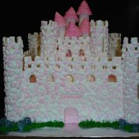 Castle Cake Gumtex and fondant walls with hand piped royal stones. Everything is edible.