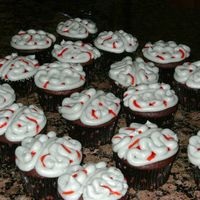 Brain Cupcakes Devil's Food cupcakes with BC frosting for my son's Fear FActor birthday party.