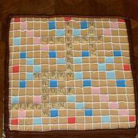 "Scrabble 12x12 Scrabble birthday cake for son. Yellow cake with buttercream ""gameboard"" and chocolate fuge frosting on the side. Letters..."