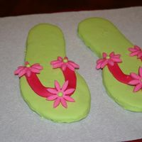Flip Flops sugar cookie flip flops covered in RI and MMF accents. About a size 6 so they are nice size cookies to go with a purse cake for my niece
