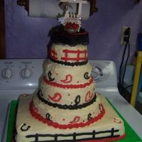 Country Western Wedding Cake I was asked to make a (last minute) wedding cake, 4 tiers - ivory, red, and black. I was told it needed to have a country western theme,...