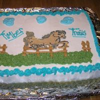 Timber Trails Half sheet marble cake with buttercream icing. I did this last minute, very rushed, and my bct fell apart!! Of course, I did that last so I...
