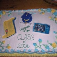 "Elementary School Graduation Cake Full sheet marble cake with buttercream frosting, royal icing roses and leaves, and edible image sheets. This was my first ""large&quot..."