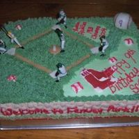 Red Sox Cake Buttercream icing with fondant baseball, diamond, and bases. Sox are colorflow, toppers are Wilton.