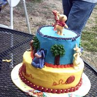 Pooh Back View Back view of Pooh Cake. Figures included Pooh, Tigger, Piglet, Rabbit, Owl, & Eeyore.