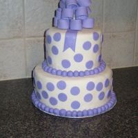 Lavender Polka Dots Baby Shower Cake My first polka dots cake. My first bow. And I am pretty happy with how it turned out! Black magic cake with white chocolate SMBC and...