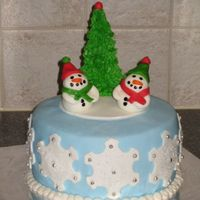 Snowmen & Tree Winter Scene Black magic cake and vanilla SMBC. Covered in mmf. Snowmen are mmf. Tree is a sugar cone covered in crusting bc.