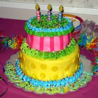 Fondant Birthday Cake Pink And Yellow  I made this cake for a friend's daughter's second B-day. It was made to match the invitations for the party. It was my first big...
