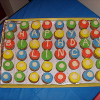 "Cupcakes For Child's Birthday  This is sooo easy! We baked cupcakes, put them on a large tray, quick star tip decoration, added ""Happy Birthday Linc"" to center..."