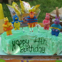 The Backyardigans Lemon Cake with raspberry filling; figures made out of Candy Clay