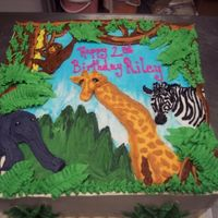 Jungle Cake this was all done in icing, I love when people want what is on the napkins they are using at their parties on their cake!