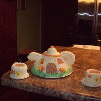Tea Pot Cake With Cups I made this for My Grand Daughters 3 year Birthday party.