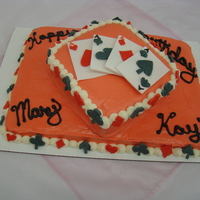 Playing Card Cake I copied this cake design from kayleesgrammy here at cake central. It was for a ladies 90th Birthday. The cards were made of fondant and so...