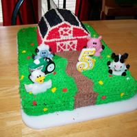 Barnyard Birthday Cake   For my daughter's 5th birthday. Pretty simple but cute.