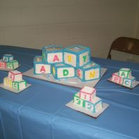 Baby Landen Cake  Baby shower cake I made for my wife's cousin. Not quite as neat as I would have liked, but I thought the little blocks from the left-...