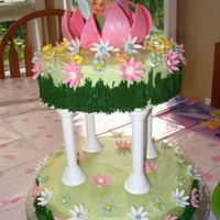 Tinkerbell Cake 2 tier buttercream with sugarpaste flowers and centerpiece blossom