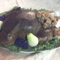Roasted Turkey My first 3D turkey cake!!!!!! Thanks to MrsMissey for the directions and inspiration for this cake. Cake itself is a vanilla chai spice...