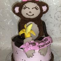 "Pink Monkey Birthday Cake 3-D RKT Monkey iced in Chocolate BC with fondant accents, sitting on an 8"" marble cake. I loved making this cake, was lots of fun and..."