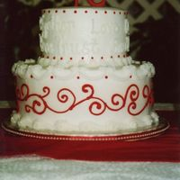 "Love Words   royal icing ""R"" and detailed with pearl dragees"