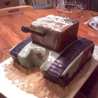 Army Tank Camo Cake Chocolate cake.. fondant deco... cannon is fondant covered wooden dowel. Brown sugar sand.