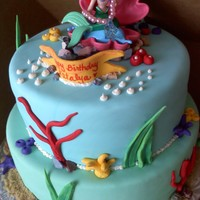 Little Mermaid Cake White cake, fresh strawberries. All decorations made of fondant except topper. Brown sugar sand. TFL!