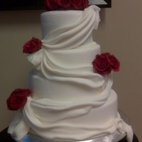 Drapery Cake With Red Roses
