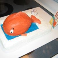 "Fish Out Of Water  This is a cake I made for a school fundraiser. It is a scene from the book ""A Fish Out of Water"", one of my kids' favorites..."