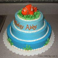Nemo Cake This cake was made using buttercream frosting, and marshmallow fondant for the Nemo figure. The blue buttercream gradually gets darker from...