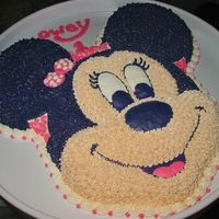 Minnie Mouse Birthday Cake I usually get stuck making boy cakes, since I'm the only female in the house... so I made this for my cat on her 1st birthday. Just an...
