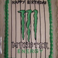 Monster Energy Drink Birthday Cake Small sheet cake with buttercream icing... decorated in the Monster Energy Drink design scheme. I didn't have much black gel coloring...
