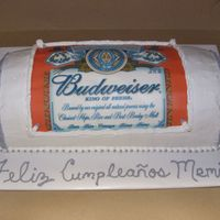 Budweiser Can Cake   Cake is chocolate with whipped chocolate filling and white whipped frosting.