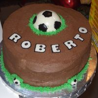 Soccer Cake Chocolate cake with chocolate whipped cream filling and Chocolate BC. Soccer ball is solid white chocolate.