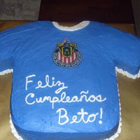 Chivas Jersey Cake This cake is supposed to be of the soccer team Chivas but I couldn't get the navy blue color (and ran out of time) so it came out this...