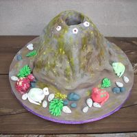 Volcano Cake  I made this cake for my son's 7th birthday recently (using fondant). The crater has a drinking glass in it. Inside the glass, i put...