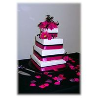 Hot Pink And Black Square Wedding Cake