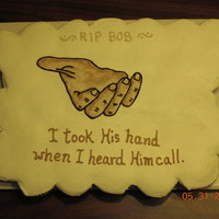 """i Took His Hand"" Cupcake Cake This is a cupcake for the mercy gathering after a funeral."