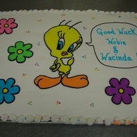 Tweety This was for two memebers of school staff leaving for new jobs. Thier names are Robin and Lucinda ... I thought it was cute to write Good...