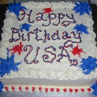 "Happy Birthday Usa! Cake made for my family's 4th of July party.12"" WASC with butterceam and RI. TFL"
