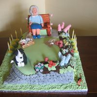 Garden Birthday Cake I did this cake for a lady who was 80 and loved her garden and her dog. She also loved her cake and refused to cut it.