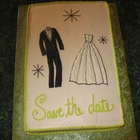Save The Date This was my first paid cake. The couple gave me a copy of thier invitation and asked me to make the cake look just like it. This was before...