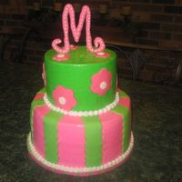 "Pink & Green Monogram This was for my best friend's daughter on her 5th birthday. 6"" top tier is chocolate, 9"" bottom tier is vanilla - both with..."