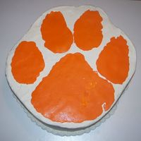 Clemson Grooms Cake The groom was a graduate of Clemson university so naturally a huge fan. He wanted the clemson paw so this is it!! Not much else I could do...