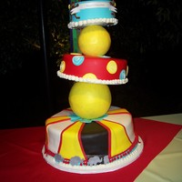 "Circus Cake This was for a circus themed birthday party. This cake was inspired by Mac. I had to make my own ""caddy Wampus"" stand because the..."