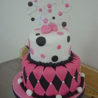 Black, Pink, And White Bridal Shower Cake Chocolate cake with chocolate ganache. Covered and decorated in fondant.