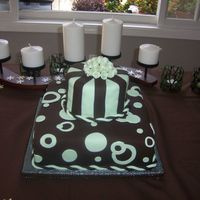 100_5248.jpg Bridal shower cake, bottom layer is chocolate cake with chocolate ganache, top layer is lemonade cake with raspberry and lemon buttercream...