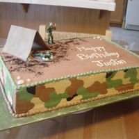 Army Birthday Cake Cake is frosted in a chocolate Italian buttercream with crusting buttercream camouflage on the sides. Tent is made from gumpaste.