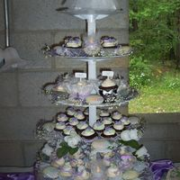 Outdoor Wedding Lilac Cupcake Tree for an outdoor wedding!