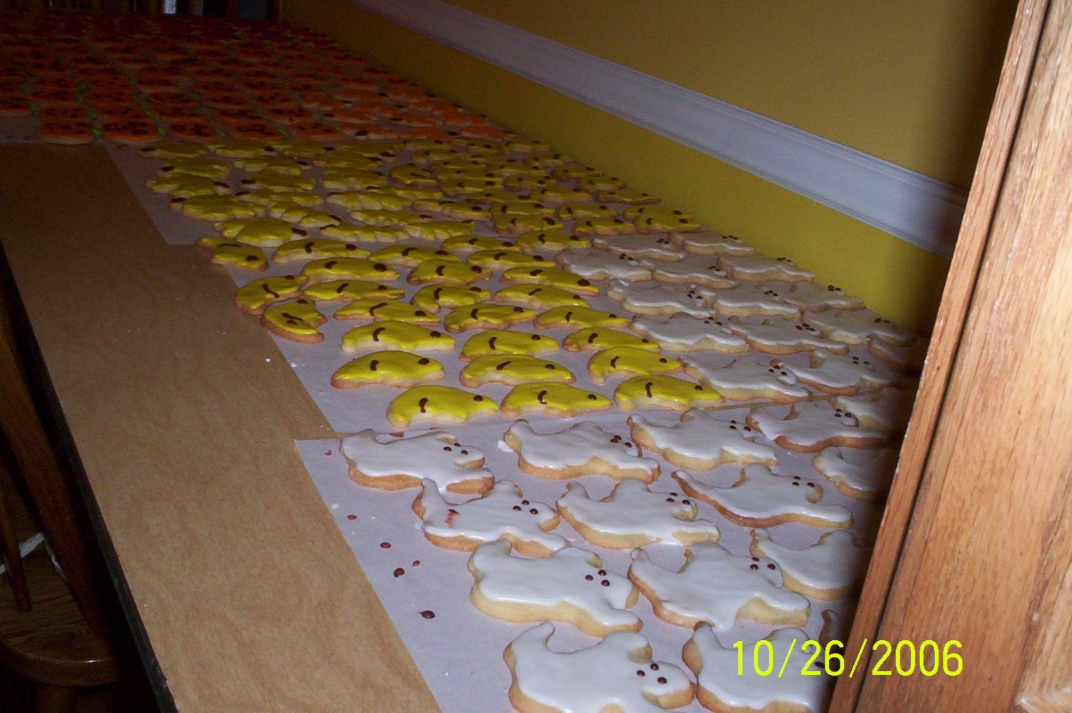 Cookie Factory More of the 50 doz. cookies drying.